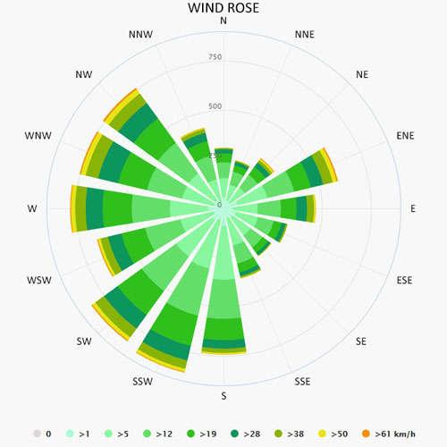 Wind rose in Canada