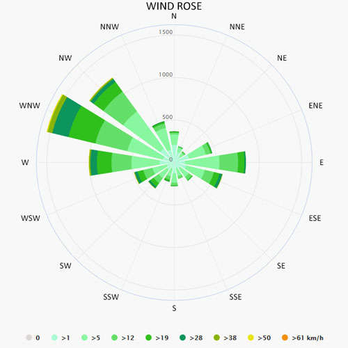 Wind rose in Carloforte