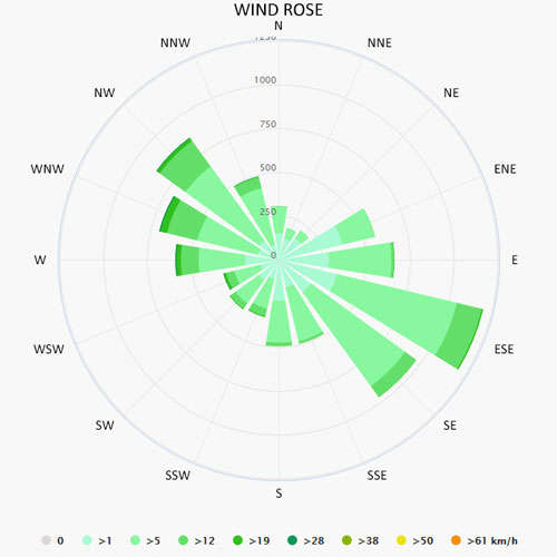 Wind rose in Marbella