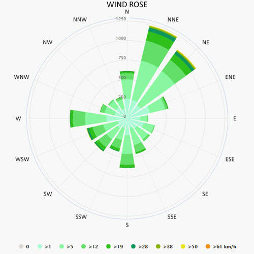 Wind rose in Piombino
