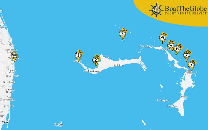 Sailing tour Palm Beach to the Abaco Islands
