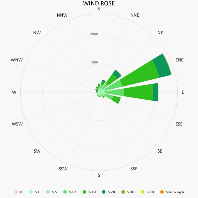 Wind rose in Elbow Cay