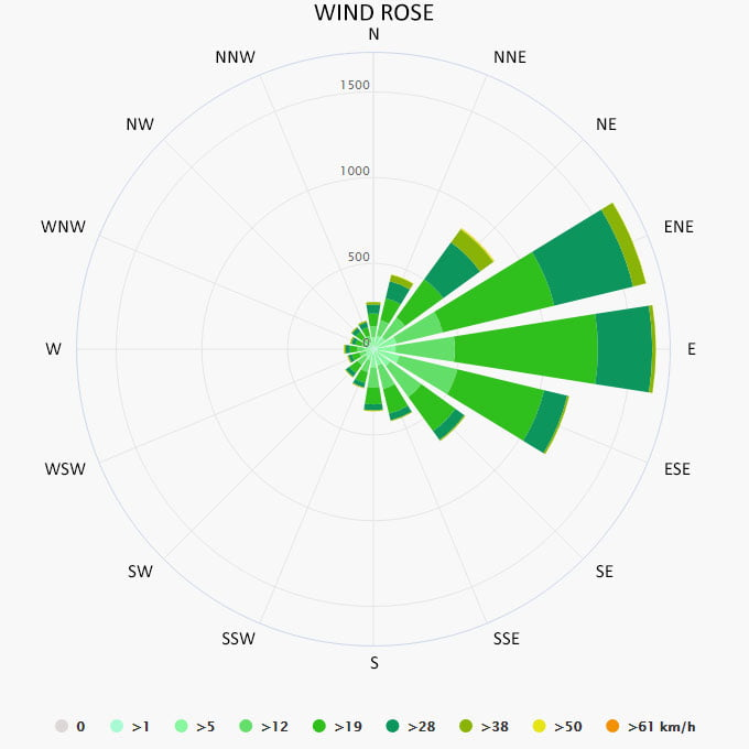 Wind rose in Eleuthera