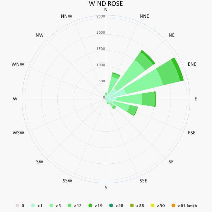 Wind rose in La Parguera