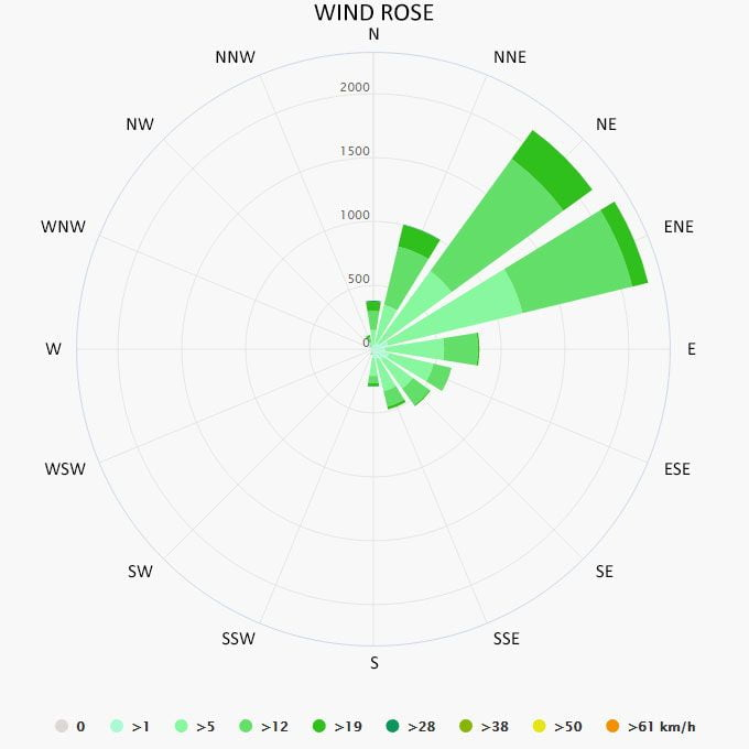 Wind rose in San Pedro